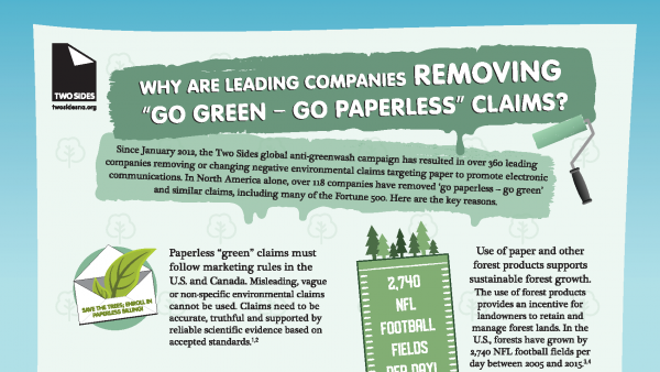 New Infographic by Two Sides explains why leading companies are removing 'Go Green – Go Paperless' claims