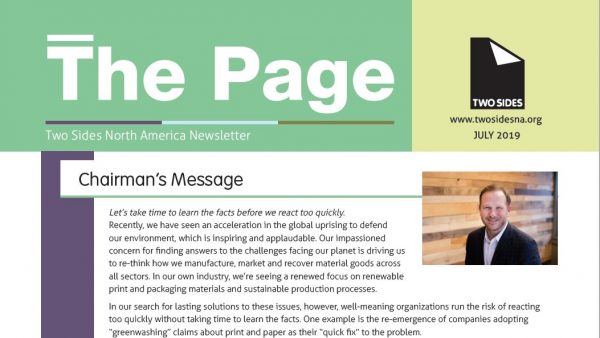 Two Sides North America has released the latest issue of The Page printed newsletter