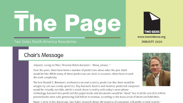 Check your mailbox! Two Sides North America has released the latest issue of The Page printed newsletter.
