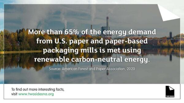 Paper Facts #7 – 65% of the energy demand from U.S. paper mills is met using renewable energy