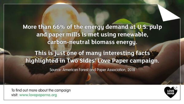 Paper Facts #7 – 65% of the energy demand from U.S. paper mills is met using renewable energy