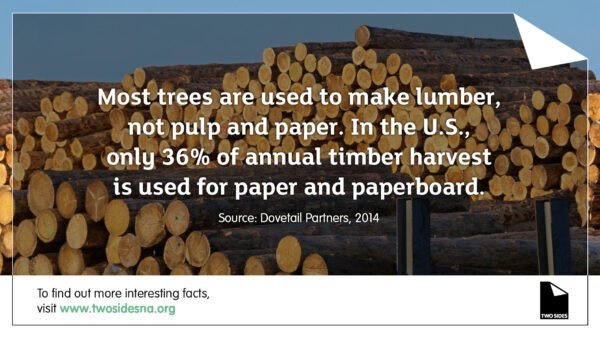 Paper Facts #5 – Only 36% of annual timber harvest is used for paper and paperboard