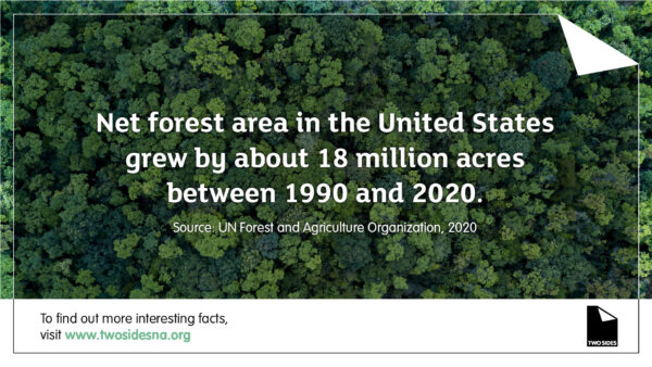 Paper Fact #10 – Net forest area in the U.S. grew by about 18M acres between 1990 and 2020